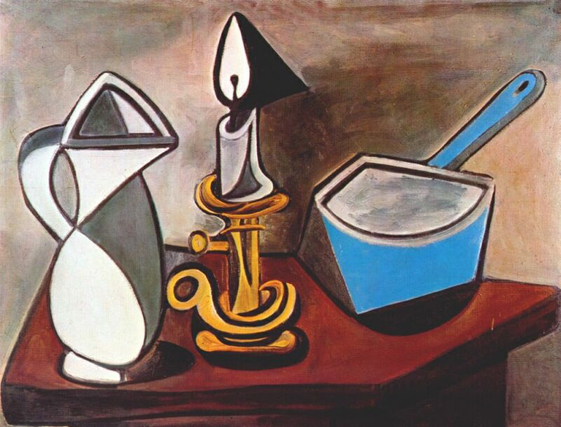 Пабло Пикассо. Кувшин, свечи и запеканка