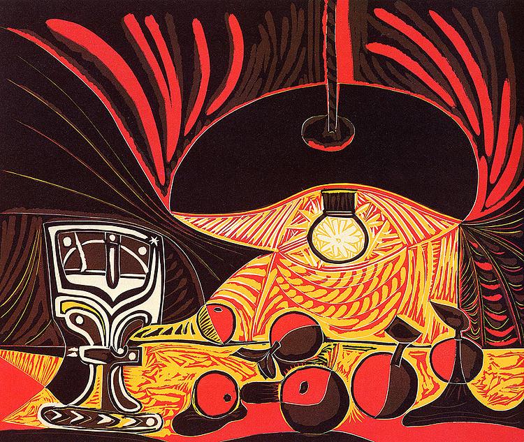Пабло Пикассо. Натюрморт с бокалом под лампой