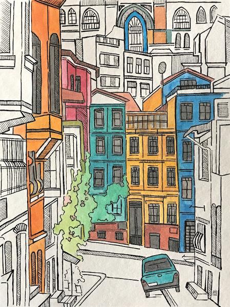 Larissa Lukaneva. Istanbul. Sketch.