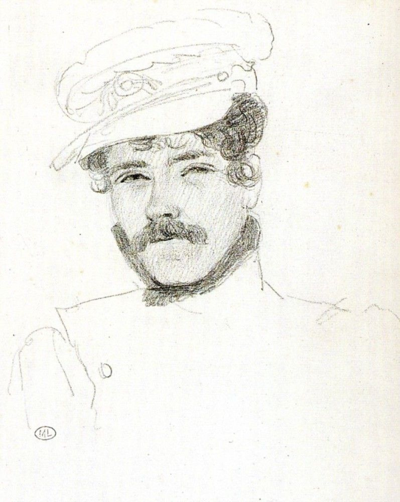 Eugene Delacroix. Self-portrait in a cap