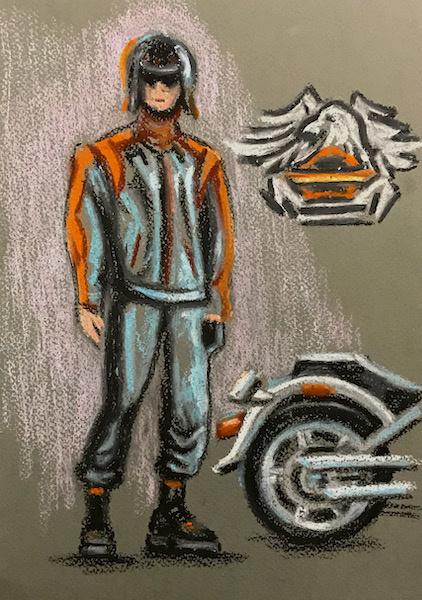 Larissa Lukaneva. Biker. Sketch.