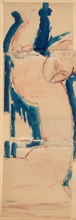 Amedeo Modigliani. Caryatid: blue and pink