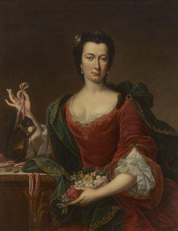 Неизвестный  художник. Портрет француженки с цветами и белкой