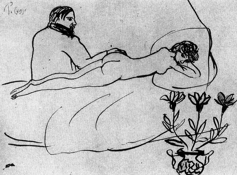 Пабло Пикассо. Лежащая обнаженная и сидящий Пикасо