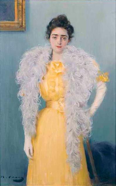Рамон Касас Карбо. Женщина в желтом платье и боа