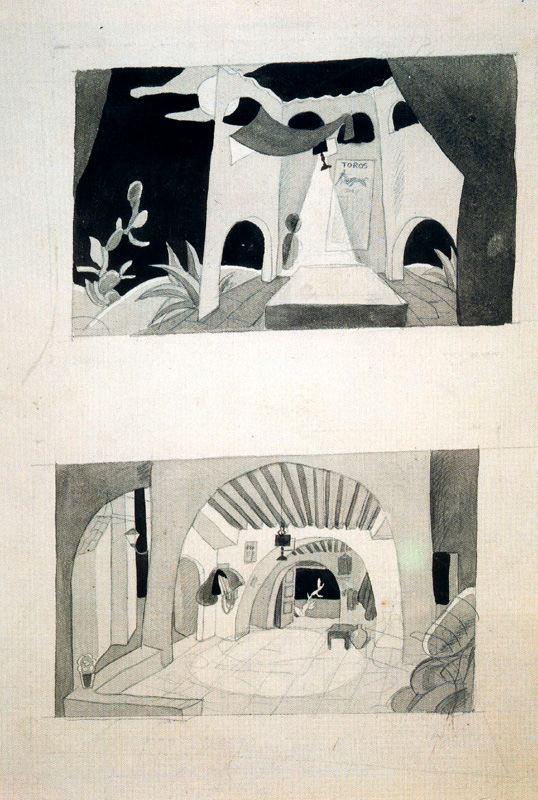 Carlos Sáenz de Tejada. Sketch for the decoration of Carmen, Antonia Merce, La Argentina