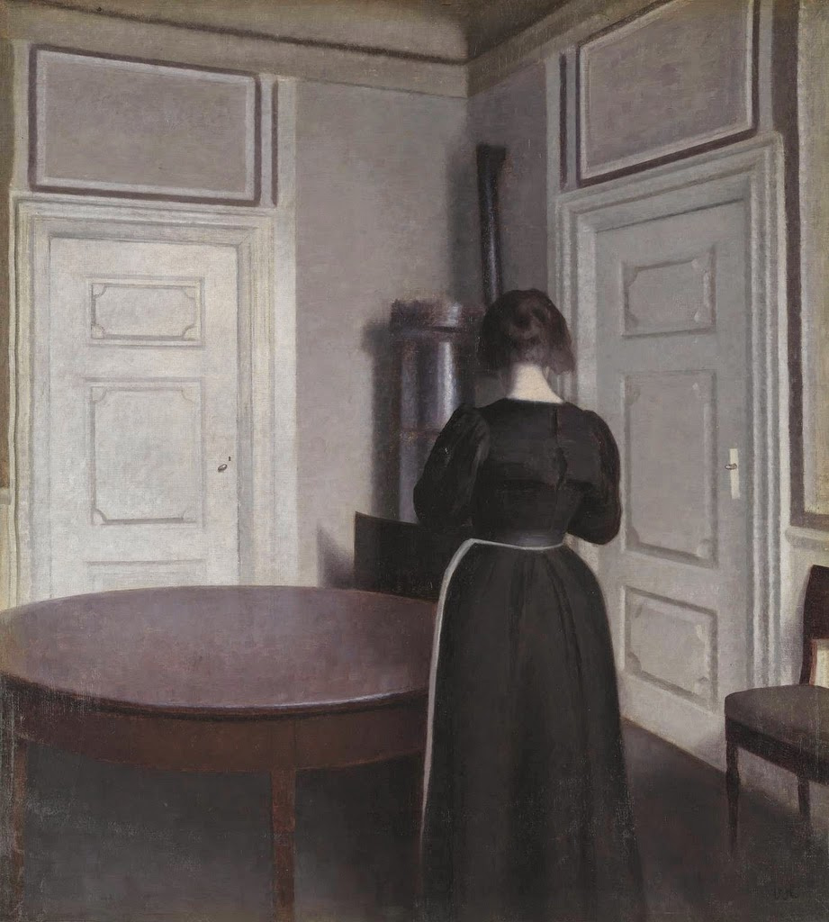 Vilhelm Hammershøi. Interior with a woman at the table