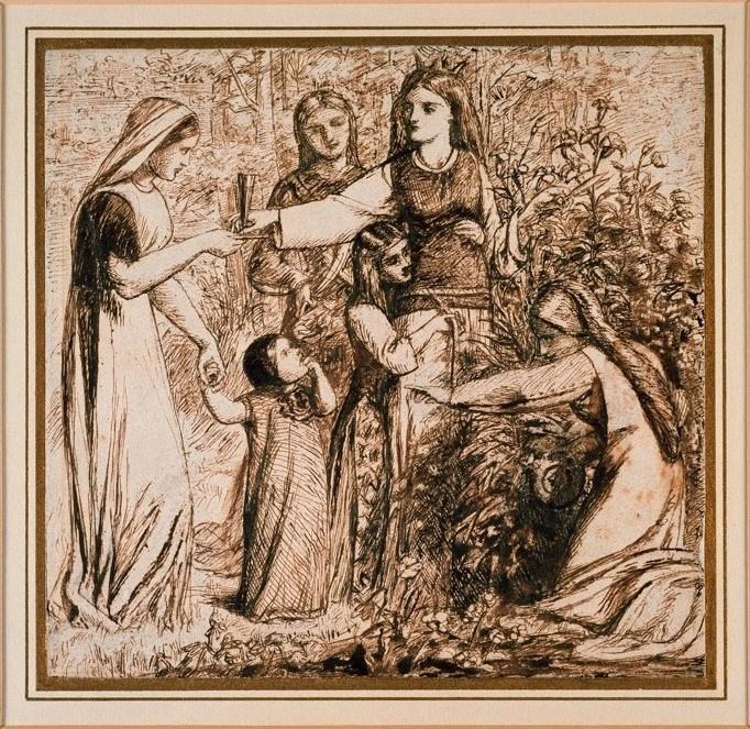 Данте Габриэль Россетти. Данте видит Матильду, собирающую цветы