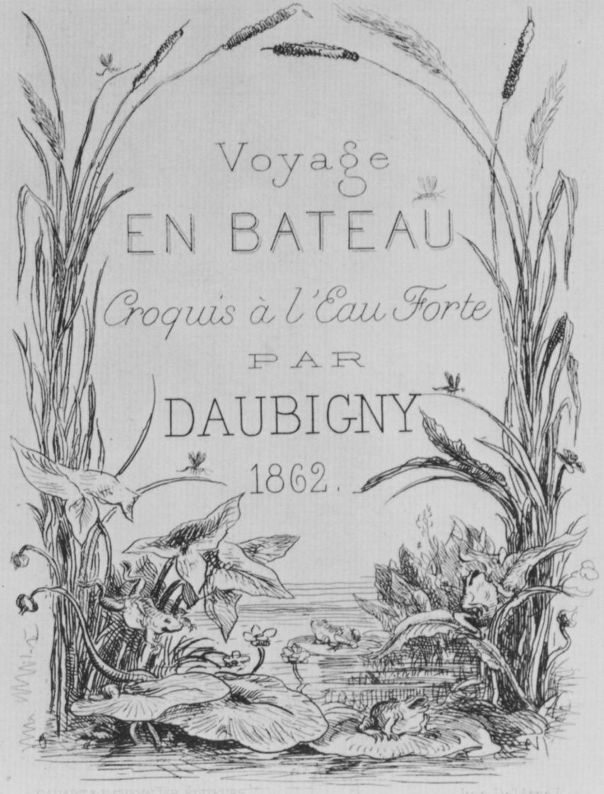Charles-Francois Daubigny. Series Album journey in a boat, Frontispiece with text
