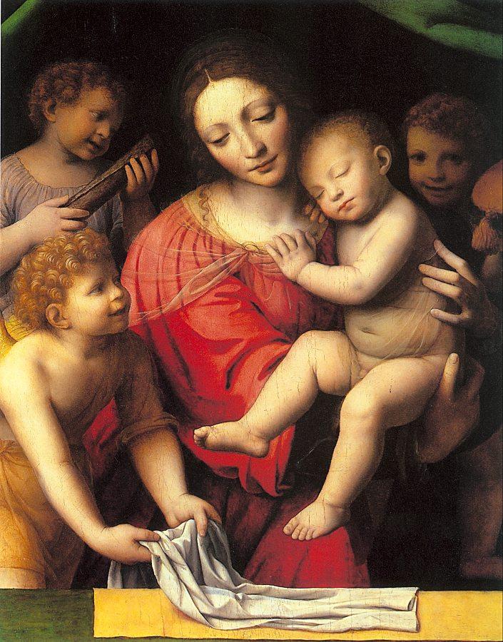 Бернардино Луини. Дева с младенцем и святыми
