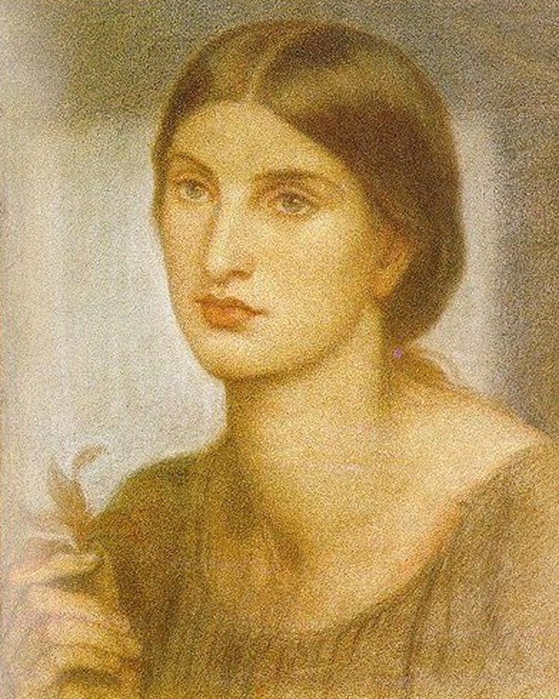 Dante Gabriel Rossetti. Portrait of a young woman with a branch