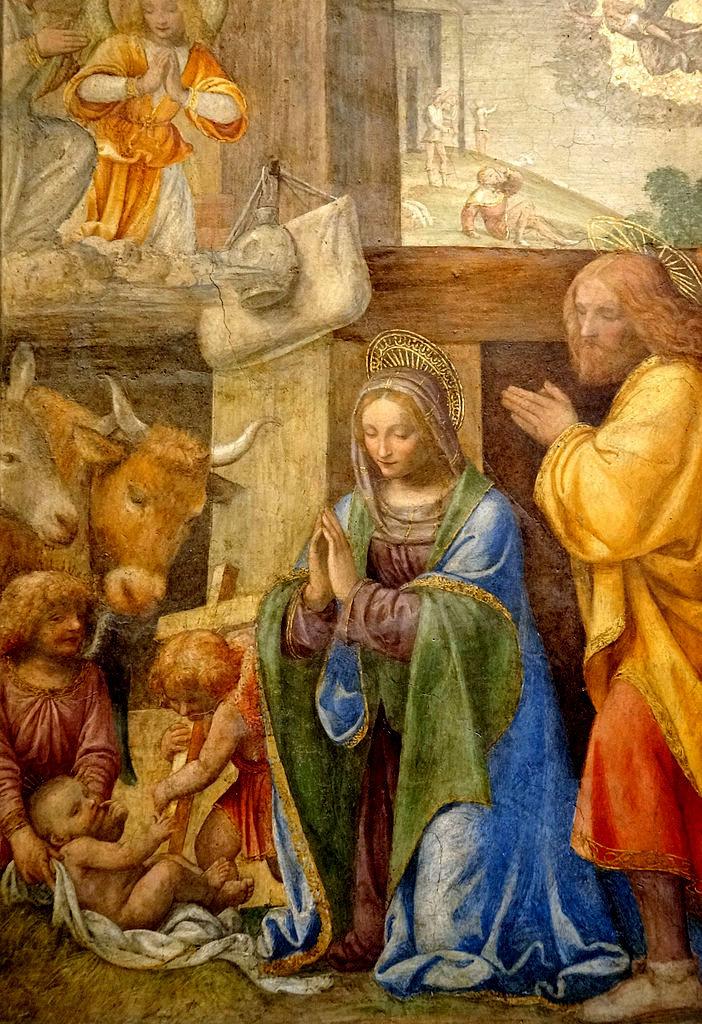 Bernardino Luini. The Nativity and the adoration of the shepherds