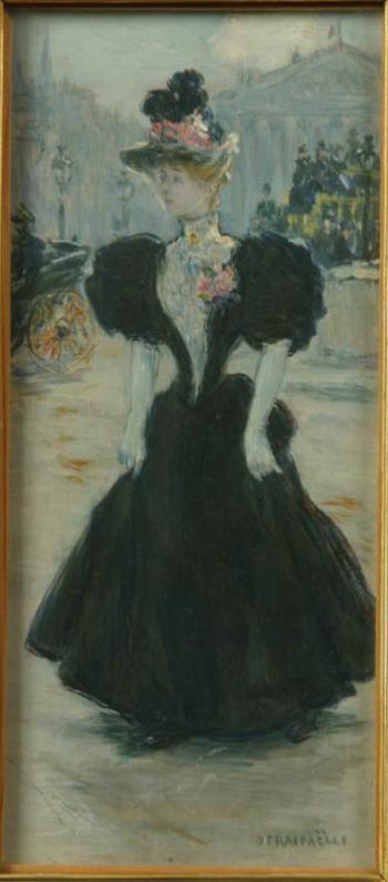 "Jean-François Raffaelli. Lady on a walk. Study for the film ""Boulevard Saint-Michel."""