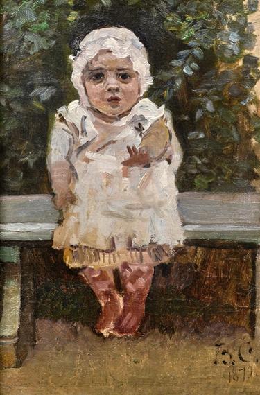 Vasily Ivanovich Surikov. Little girl on a Park bench. (Sketch of Olga Vasilievna, the artist's daughter)