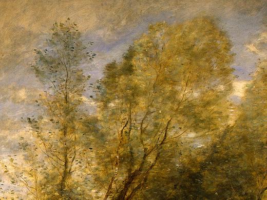 Камиль Коро. Верхушки деревьев в лесу