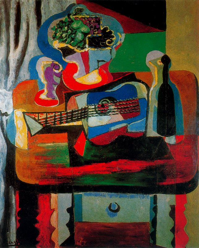 Пабло Пикассо. Бокал, букет, гитара и бутылка