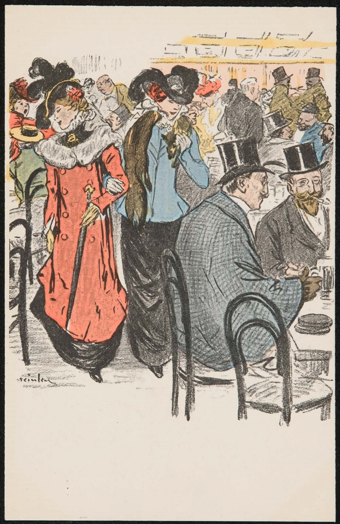 Theophile-Alexander Steinlen. All busy. Crowded street cafe