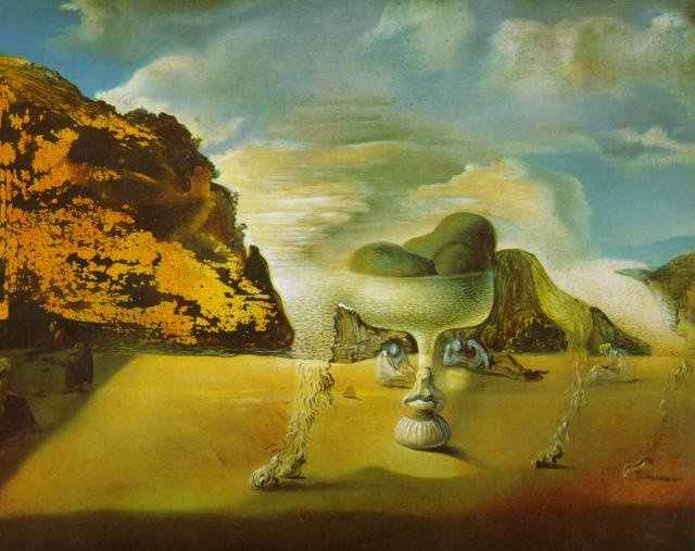 Salvador Dali Face And Vase On A Beach Vase And Cellar Image