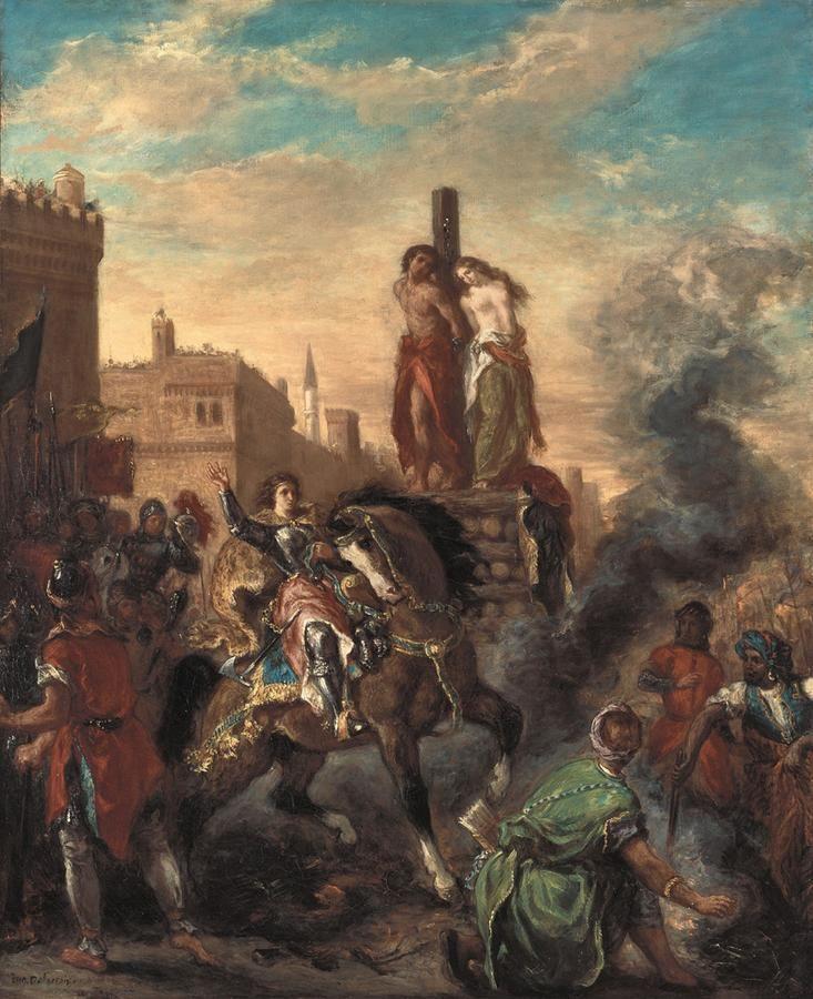 """Eugene Delacroix. Olinda and Safronov at the stake (by Torquato tasso """"Jerusalem delivered"""")"""