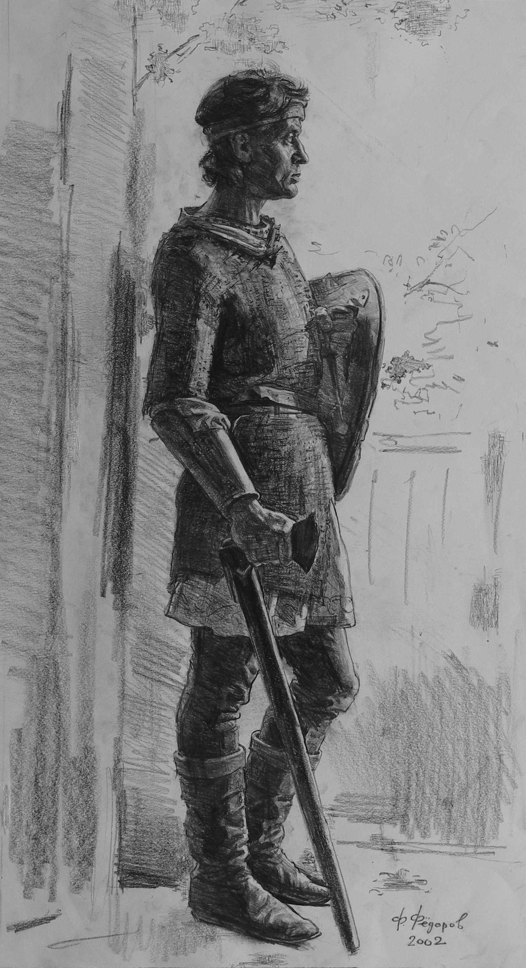 "Фёдор Борисович Фёдоров. Warrior with a battle ax. XIII century. Drawing for the painting ""Russian Fortress"""