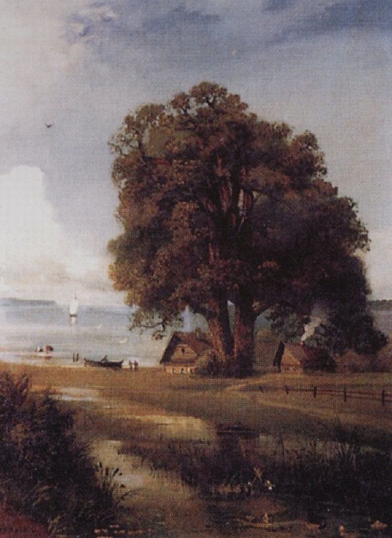 Alexey The Kondratyevich Savrasov. Landscape with farm by the lake