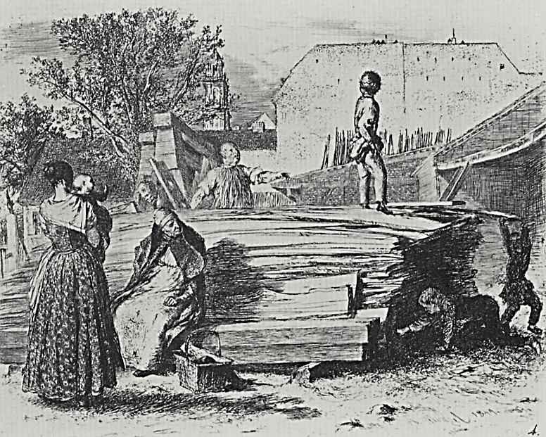 Адольф фон Менцель. Штабель из досок во дворе, четвертое состояние