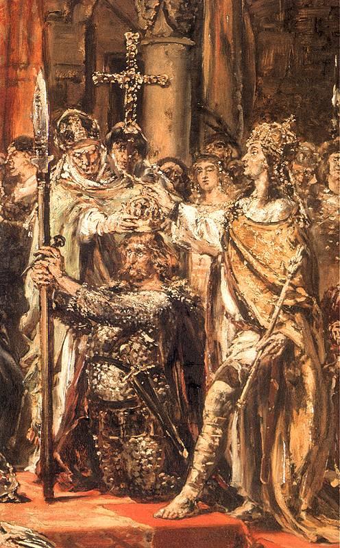 Ян Матейко. Коронация первого короля, 1001 год. Фрагмент. Войцех, первый архиепископ Гнезненский, коронует Болеслава Храброго