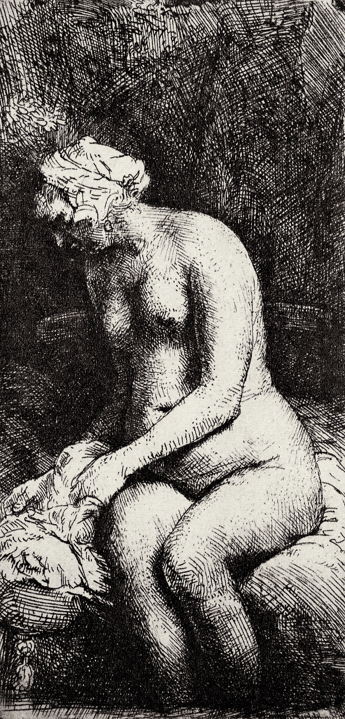 Rembrandt Harmenszoon van Rijn. Nude with legs lowered in water