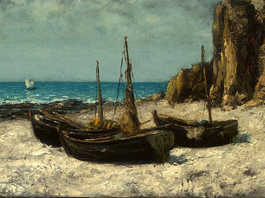 Гюстав Курбе. Лодки на пляже, Этрета. Фрагмент2