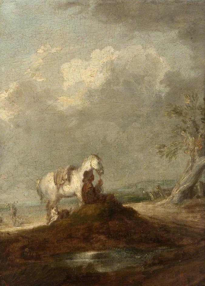 Томас Гейнсборо. Путник, сидящий у дороги, с собакой и белой лошадью