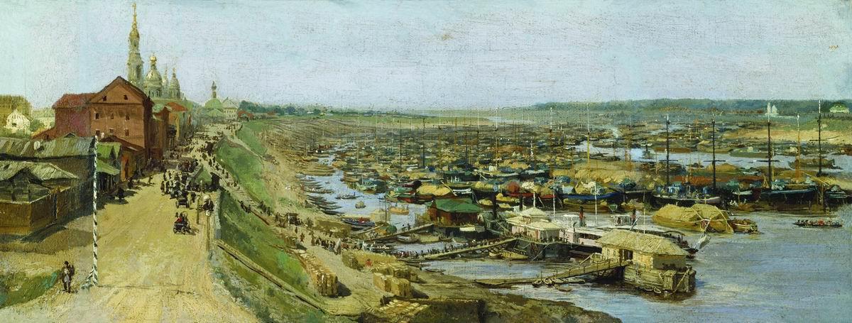 Василий Максимович Максимов. Вид города Рыбинска. 1886