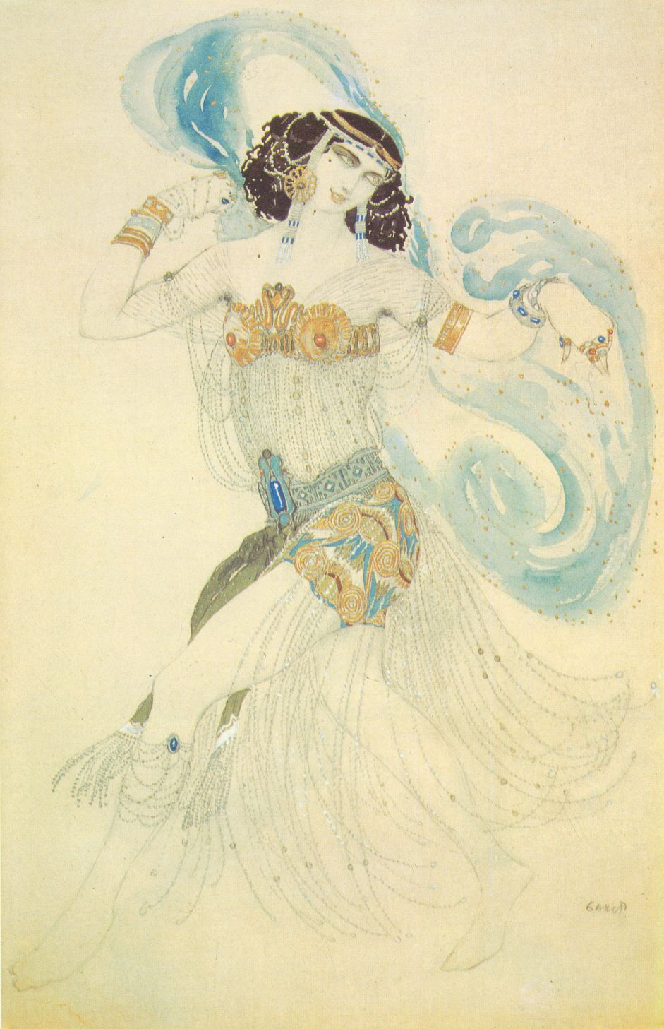 "Lev (Leon) Bakst. The dance of the seven veils. Costume design of salomé to the drama of Oscar Wilde's ""Salome"""