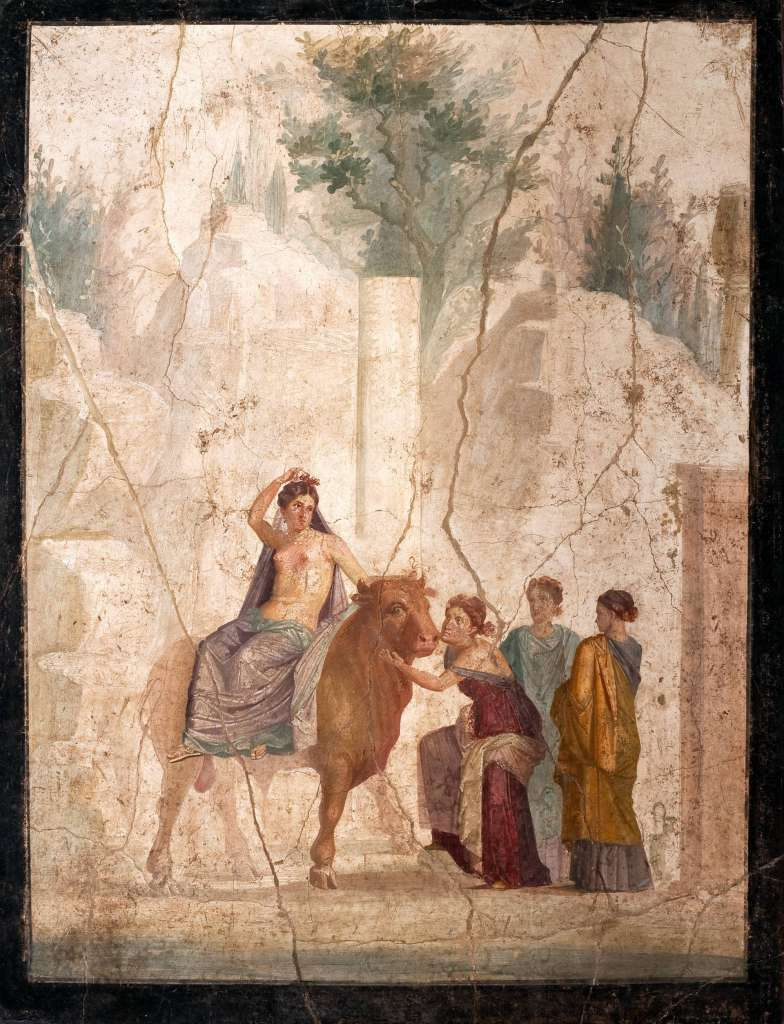 Masterpieces of unknown artists. The rape of Europe (Europe on the bull). Pompeian fresco