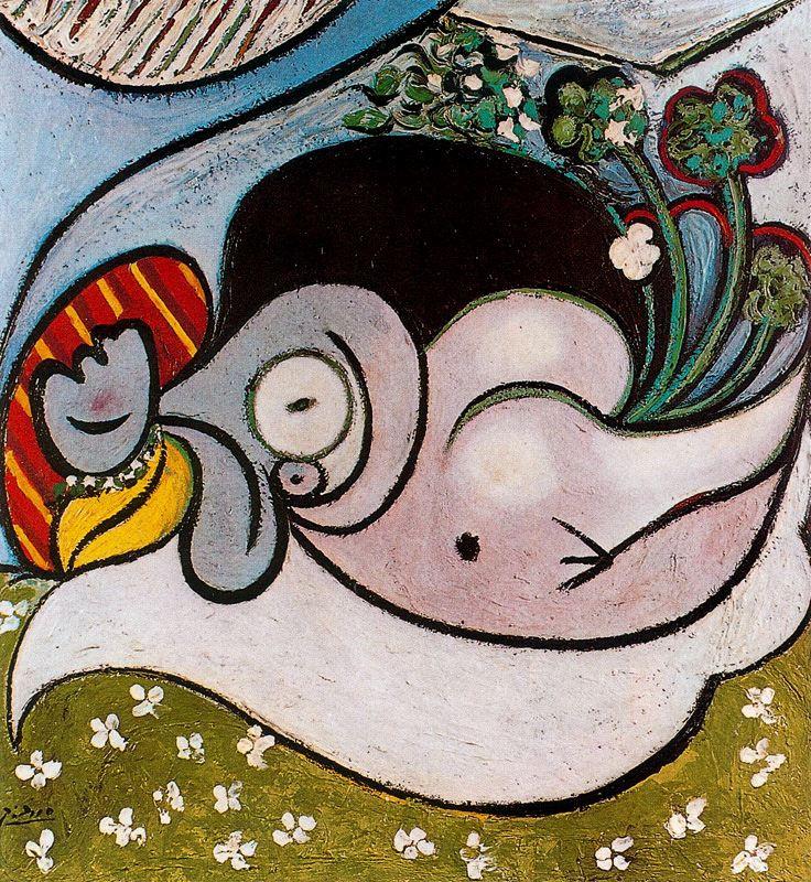 Пабло Пикассо. Лежащая обнаженная с цветами
