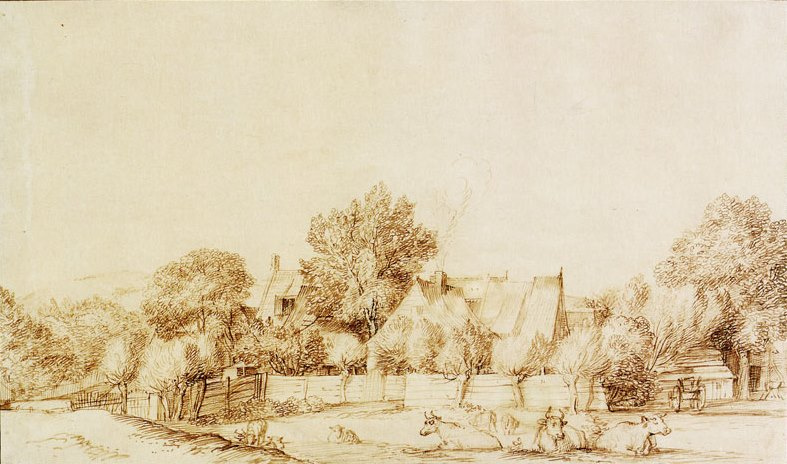 Ян Ливенс. Пейзаж с деревней и коровами