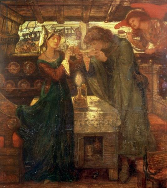 Dante Gabriel Rossetti. Tristan and Isolde drink a love potion