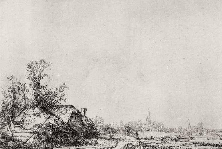 Рембрандт Ван Рейн. Хижины вдоль канала