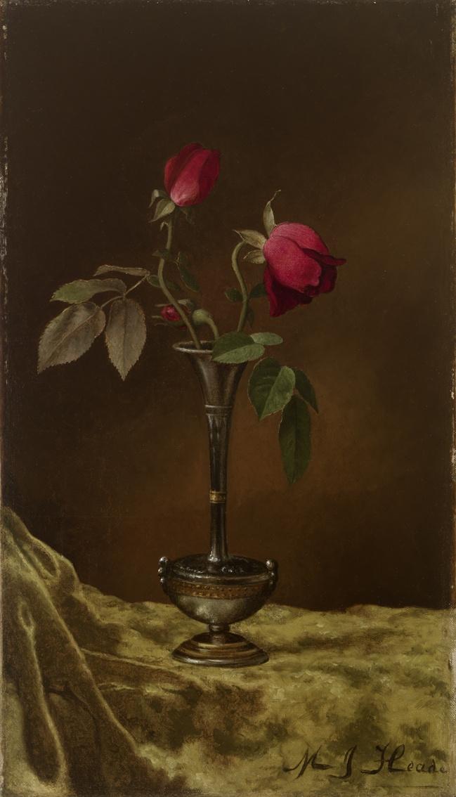 Martin Johnson Head. Red roses in a metal vase on golden velvet