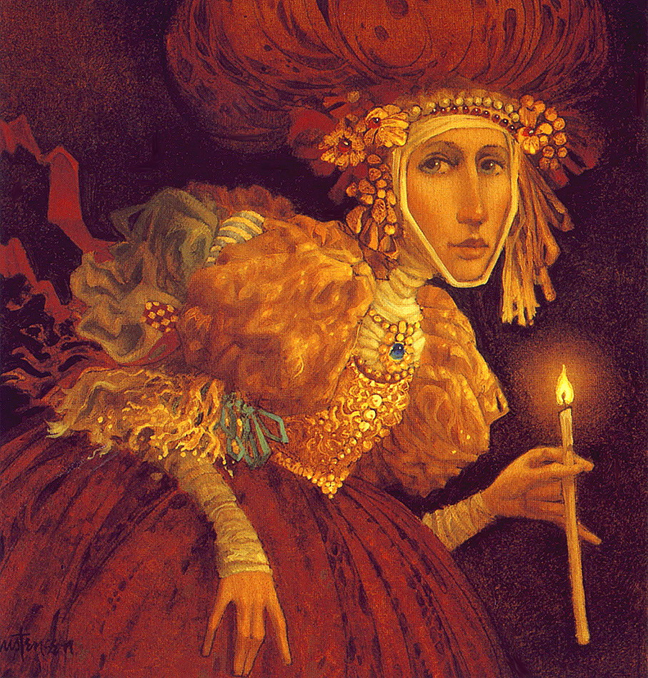 James Christensen. Lighted candle in hand