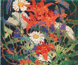 Том Томсон. Marguerites, Wood Lilies and Vetch, summer 1915, oil on wood