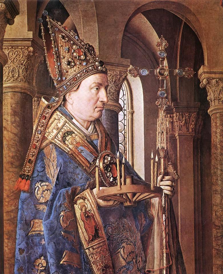 Jan van Eyck. Madonna of Canon Georg van der pale (fragment)