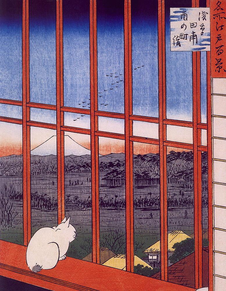 "Utagawa Hiroshige. Asakusa rice fields and festival Toranomaki. The series ""100 famous views of Edo"""