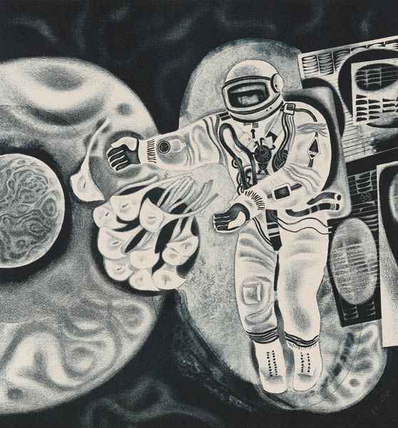 """George Georgievich Poplavsky. Flowers to the planets. From the cycle """"High Sky"""". 1974. Autolithograph on paper. i.48x51.3; sheet 61.4x85,"""