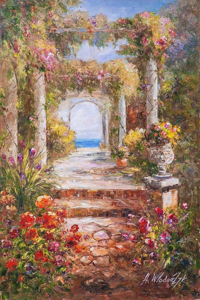 """Andrzej Vlodarczyk. Mediterranean landscape oil painting """"View through the arch to the sea"""""""