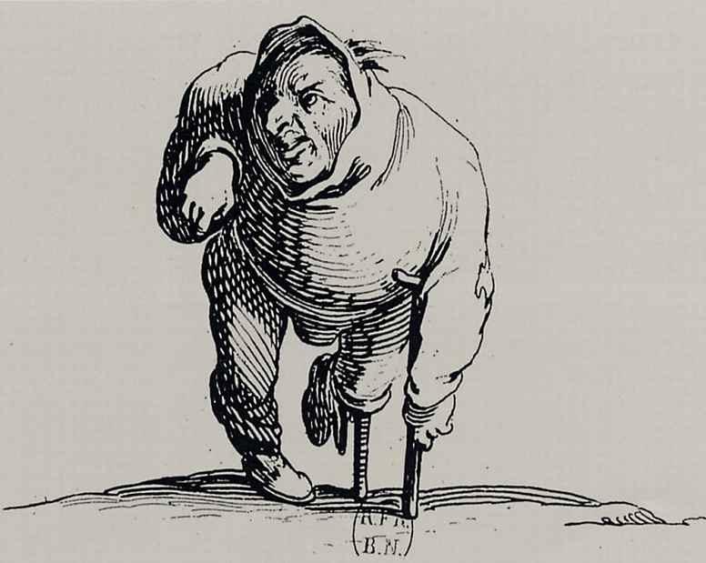 Жак Калло. Калека с костылем и деревянной ногой