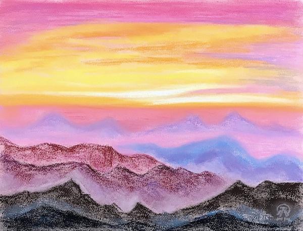 Larissa Lukaneva. Sunset in the mountains
