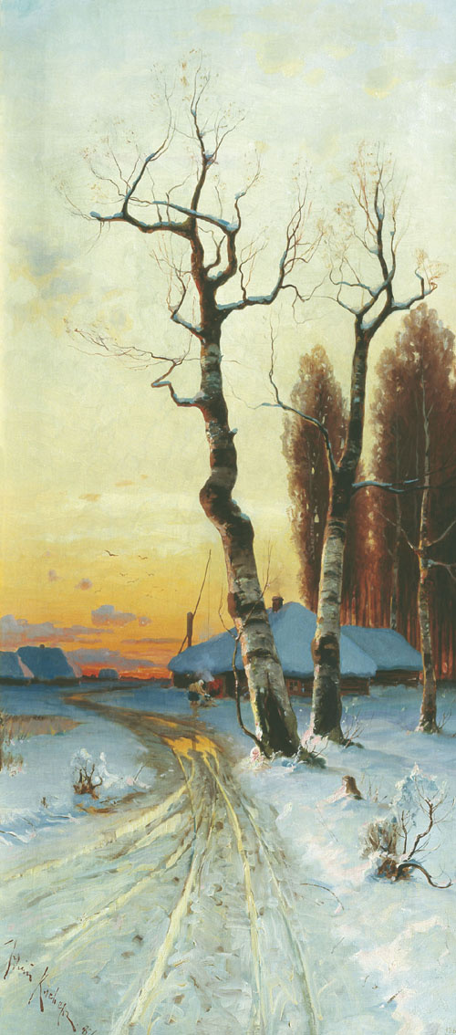 Julius Klever. Sunset in winter