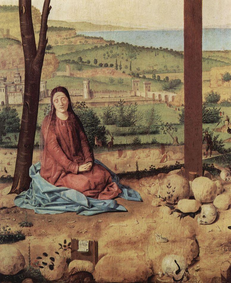 Антонелло да Мессина. Распятие с Марией и Иоанном, деталь: Мария