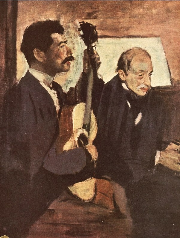Эдгар Дега. Отец художника слушает Лоренцо Пагана, играющего на гитаре