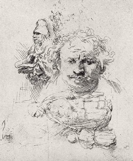 Рембрандт Харменс ван Рейн. Лист этюдов с автопортретом, нищенкой с ребенком и фигурой старика